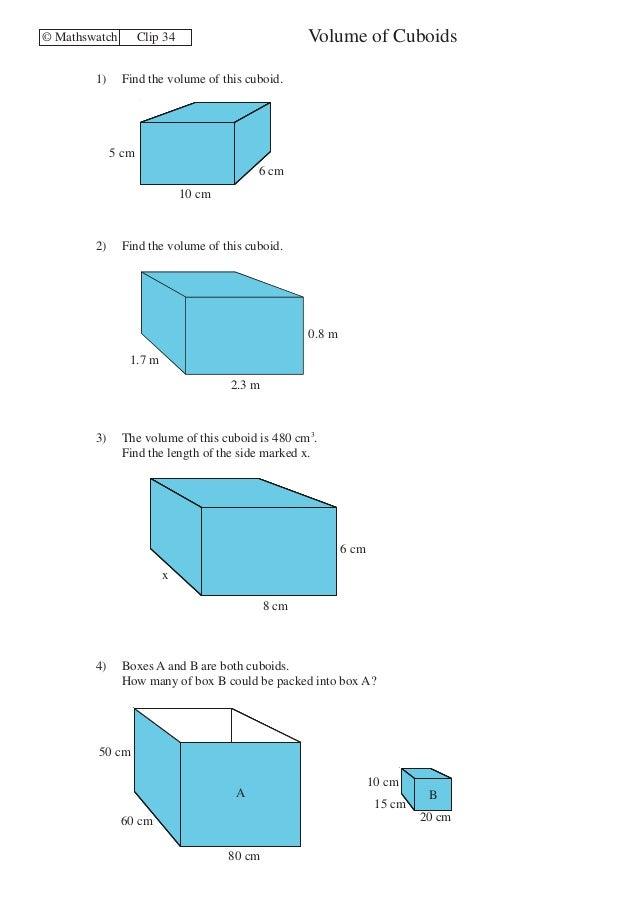 Volume of Prisms Worksheet pdf Volume and surface area of prisms ...