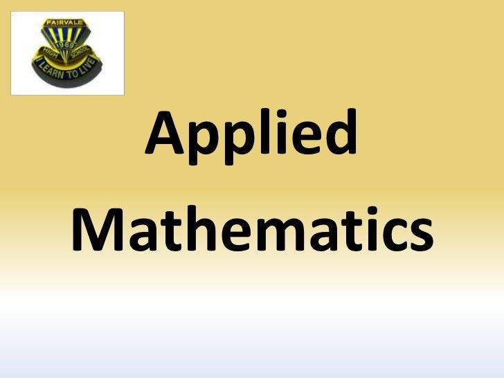 Applied<br />Mathematics<br />