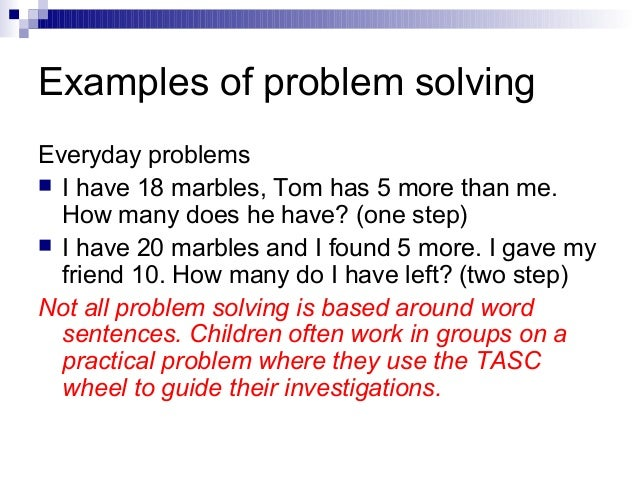 problem solving scenario essay Assignment 51 - problem-solving essay 1 according to d'zurilla, nezu, & maydeu-olivares (2004), a problem is any life situation or task that demands a response, but no effective response is immediately apparent or available because of the presence of one or more obstacles (p 12.