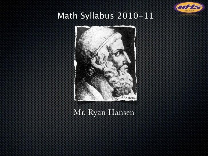 Math syllabus 2010/11