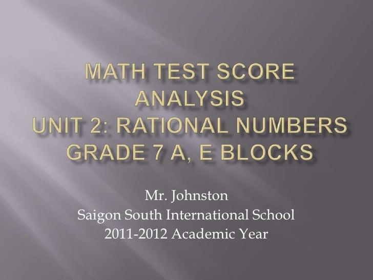 Mr. JohnstonSaigon South International School    2011-2012 Academic Year