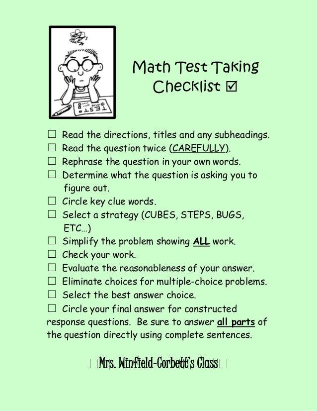 Math test taking checklist