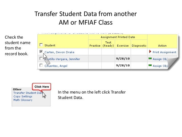 Transfer Student Data from another AM or MFIAF Class Check the student name from the record book. In the menu on the left ...