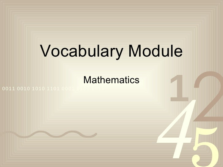 Math Vocabulary Module