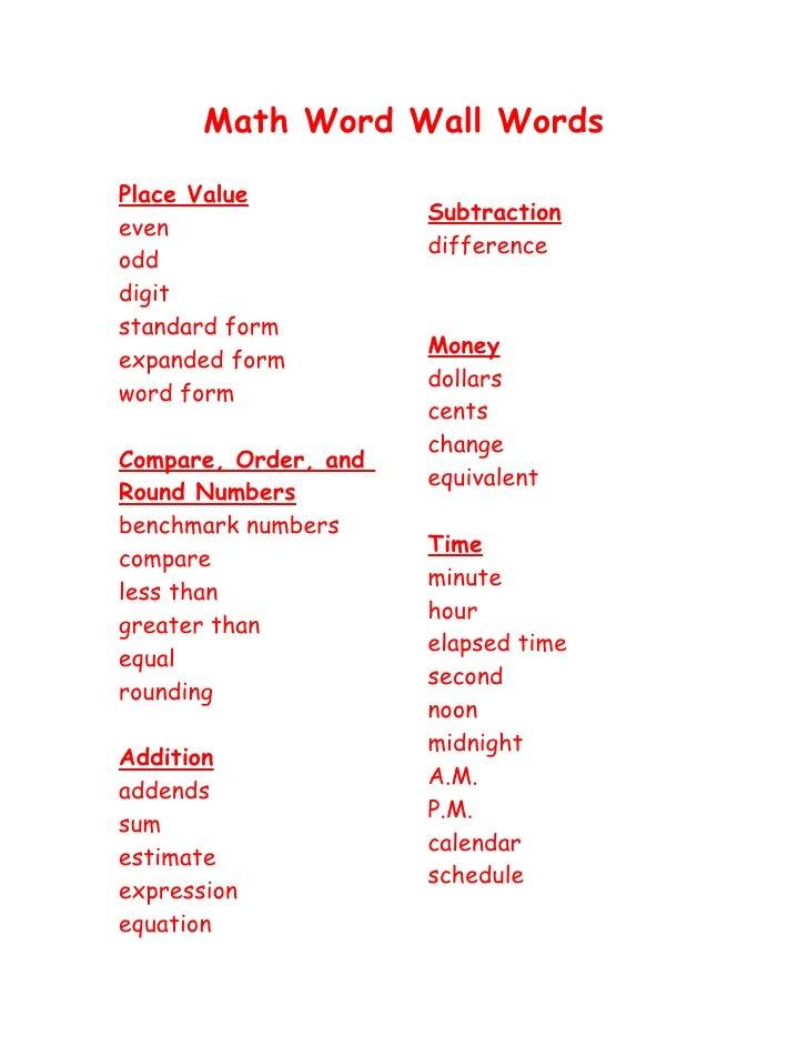 Math Word Wall Words 3rd Grade