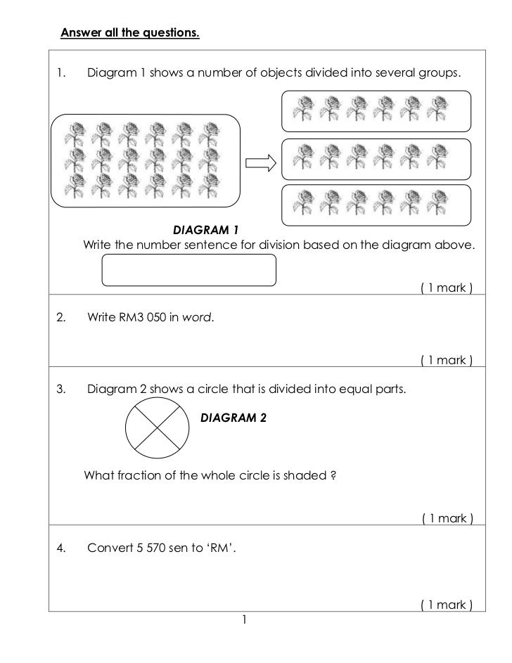 Answer all the questions.1.   Diagram 1 shows a number of objects divided into several groups.                   DIAGRAM 1...