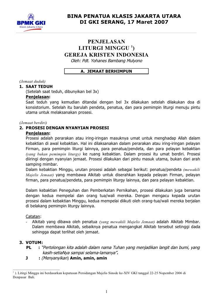BINA PENATUA KLASIS JAKARTA UTARA                                       DI GKI SERANG, 17 Maret 2007                      ...