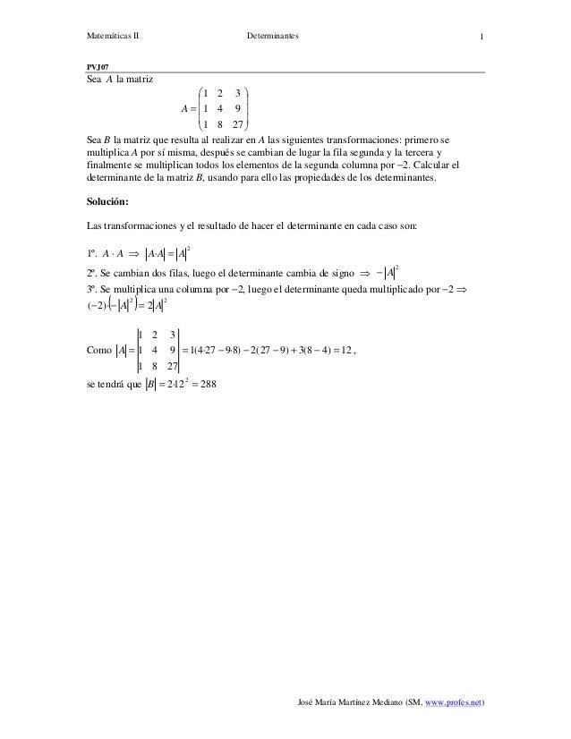 Matemáticas II Determinantes José María Martínez Mediano (SM, www.profes.net) 1 PVJ07 Sea A la matriz           ...