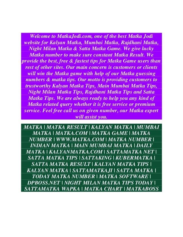 Matkajodi.com: matka tips and matka results for kalyan ...