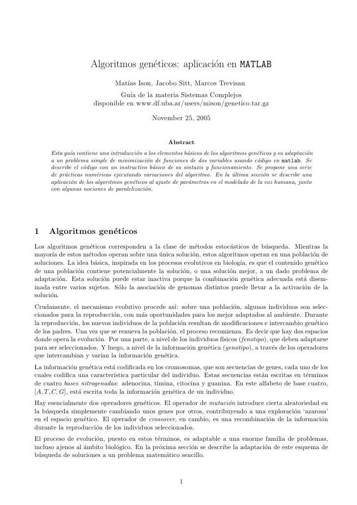 Algoritmos gen´ticos: aplicaci´n en MATLAB                                  e               o                             ...
