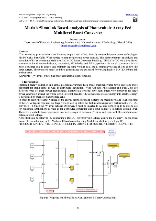 Matlab simulink based-analysis of photovoltaic array fed multilevel boost converter
