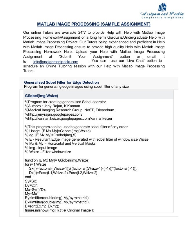 Matlab image processing homework help