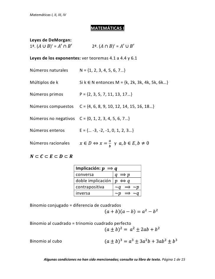 MATEMÁTICAS I<br />Leyes de DeMorgan:<br />1ª. (A∪B)' = A'∩B'  2ª. (A∩B)' = A'∪B'<br />Leyes de los exponentes: ver teorem...