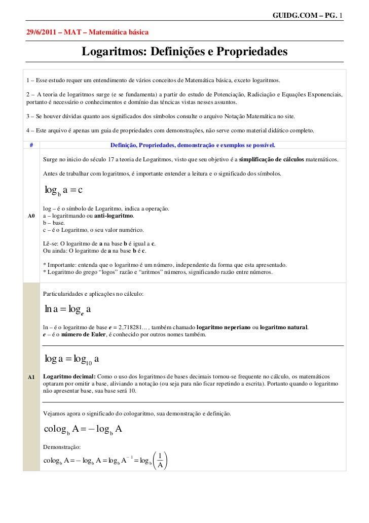 GUIDG.COM – PG. 129/6/2011 – MAT – Matemática básica                      Logaritmos: Definições e Propriedades1 – Esse es...