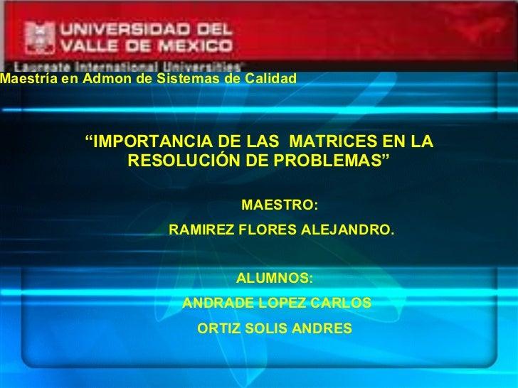 """"""" IMPORTANCIA DE LAS  MATRICES EN LA RESOLUCIÓN DE PROBLEMAS"""" MAESTRO: RAMIREZ FLORES ALEJANDRO. ALUMNOS: ANDRADE LOPEZ CA..."""