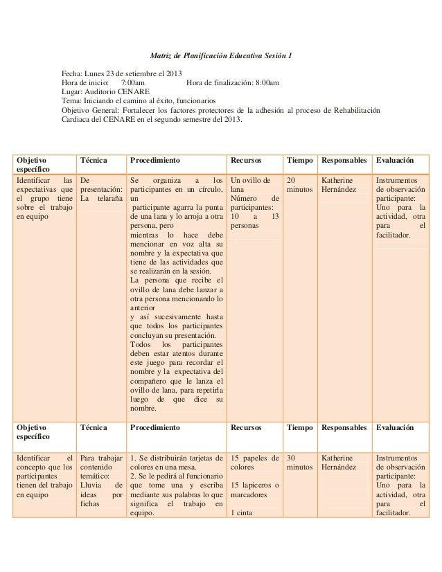 Matriz de Planificación Educativa Sesión 1 Fecha: Lunes 23 de setiembre el 2013 Hora de inicio: 7:00am Hora de finalizació...