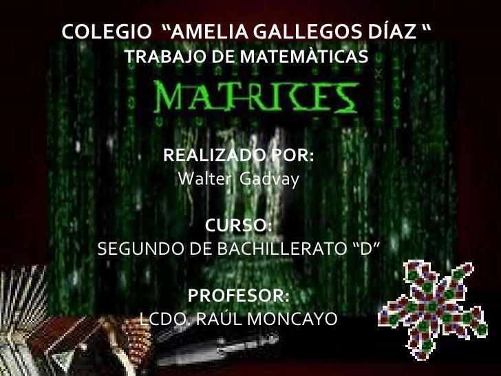 """COLEGIO """"AMELIA GALLEGOS DÍAZ """"     TRABAJO DE MATEMÀTICAS        REALIZADO POR:         Walter Gadvay           CURSO:  S..."""