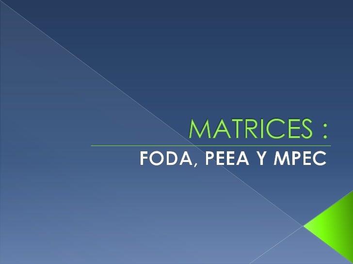 MATRICES :<br />FODA, PEEA Y MPEC<br />