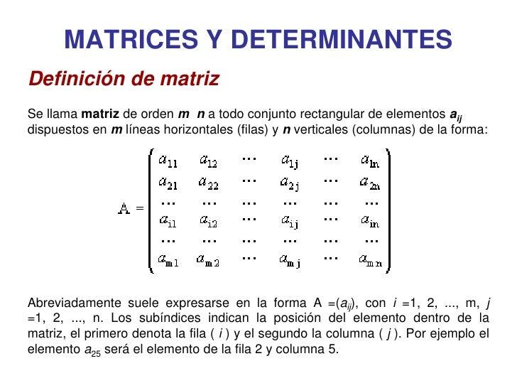 MATRICES Y DETERMINANTES Definición de matriz Se llama matriz de orden m n a todo conjunto rectangular de elementos aij di...
