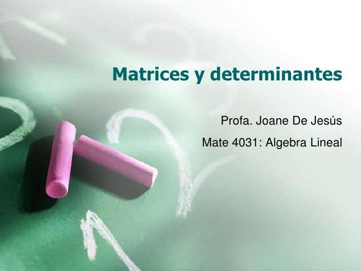 Matrices y determinantes<br />Profa. Joane De Jesús<br />Mate 4031: Algebra Lineal<br />
