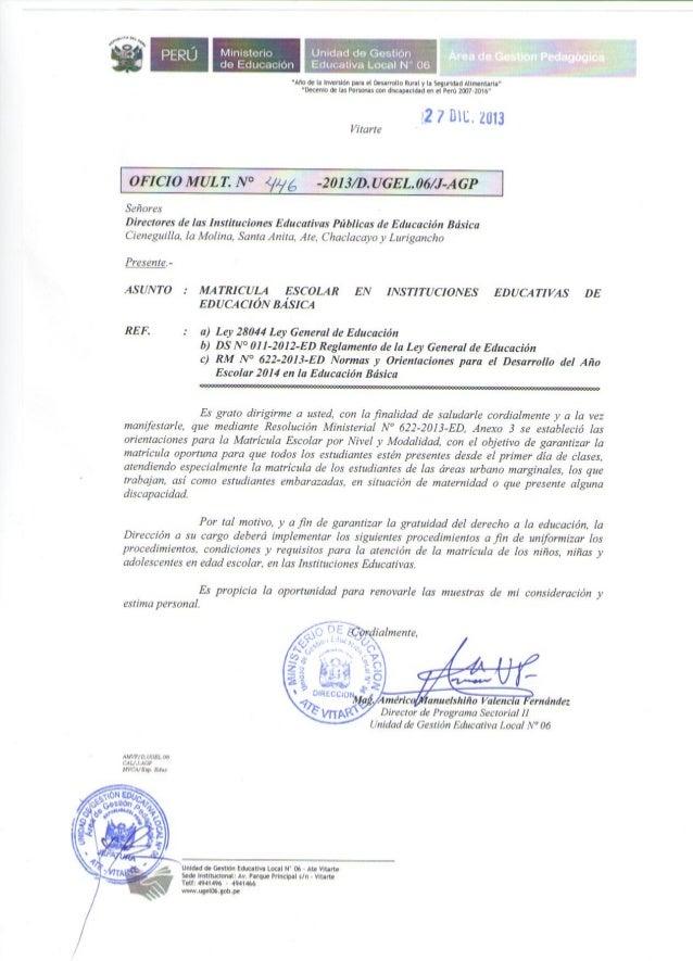 MATRICULA ESCOLAR EBR -2014