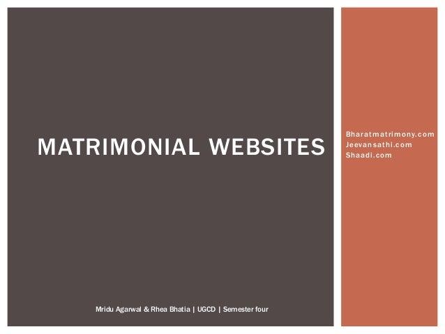 Bharatmatrimony.com Jeevansathi.com Shaadi.comMATRIMONIAL WEBSITES Mridu Agarwal & Rhea Bhatia | UGCD | Semester four