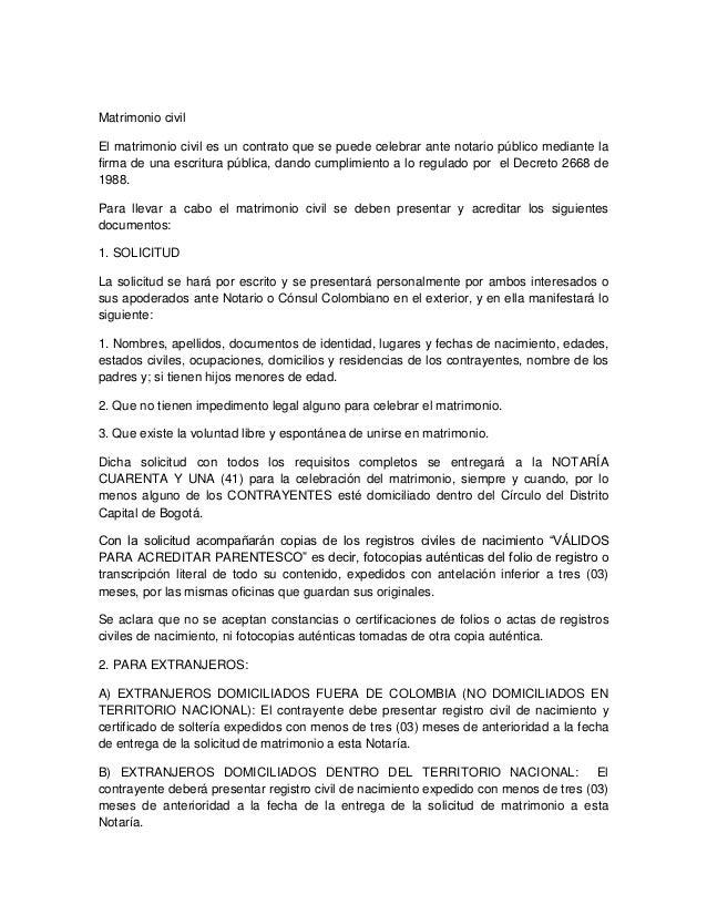 Requisitos para contraer matrimonio 1 solicitud de matrimonio civil - Requisitos para casarse ...