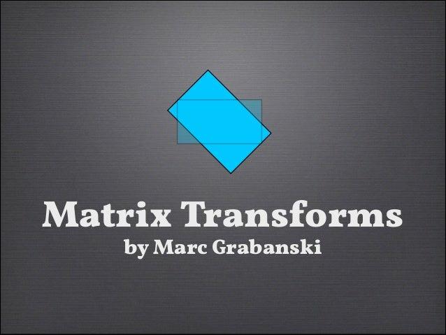 CSS/SVG Matrix Transforms