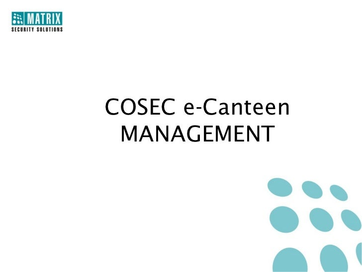 COSEC e-Canteen MANAGEMENT