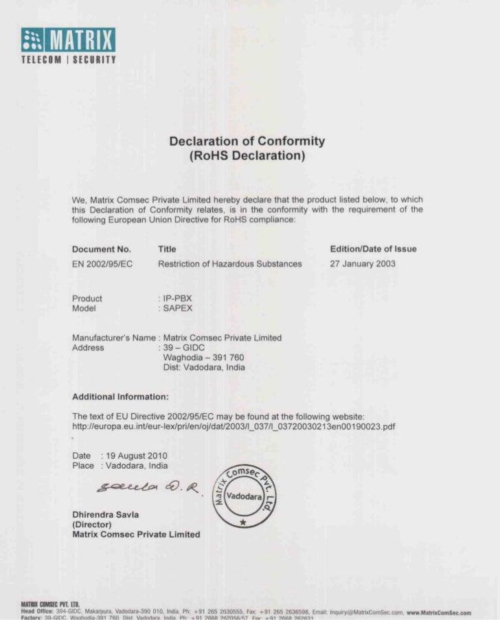 Matrix sapex ro_hs_certificate