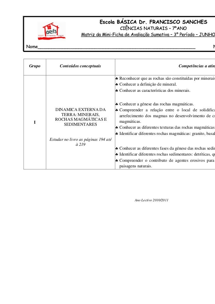Escola BÁSICA Dr. FRANCISCO SANCHES                                             CIÊNCIAS NATURAIS – 7ºANO                 ...