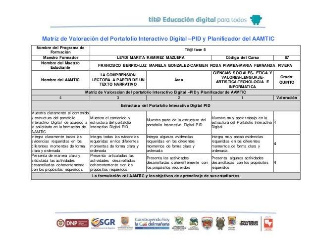 Matriz de Valoración del Portafolio Interactivo Digital –PID y Planificador del AAMTIC Nombre del Programa de Formación Ti...