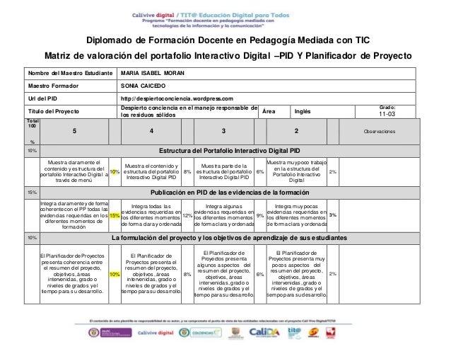 Diplomado de Formación Docente en Pedagogía Mediada con TIC  Matriz de valoración del portafolio Interactivo Digital –PID ...