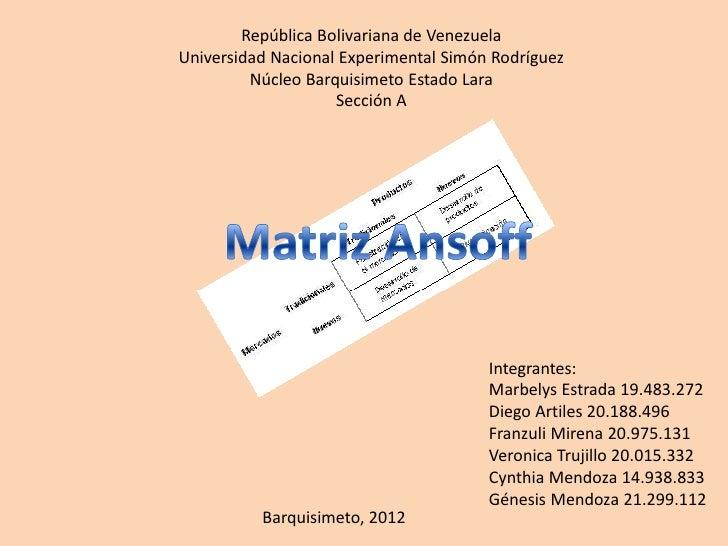 República Bolivariana de VenezuelaUniversidad Nacional Experimental Simón Rodríguez         Núcleo Barquisimeto Estado Lar...