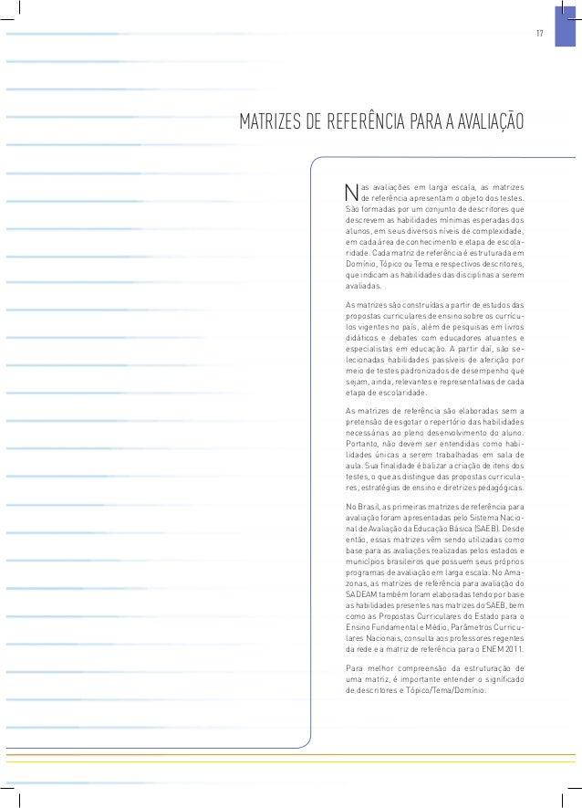 MATRIZES DE REFERÊNCIA PARA A AVALIAÇÃO  Nas avaliações em larga escala, as matrizes  de referência apresentam o objeto do...