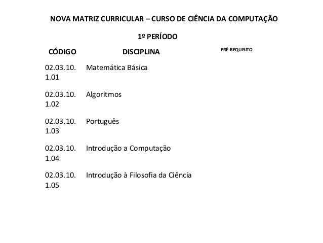 NOVA MATRIZ CURRICULAR – CURSO DE CIÊNCIA DA COMPUTAÇÃO 1º PERÍODO CÓDIGO  DISCIPLINA  02.03.10. 1.01  Matemática Básica  ...