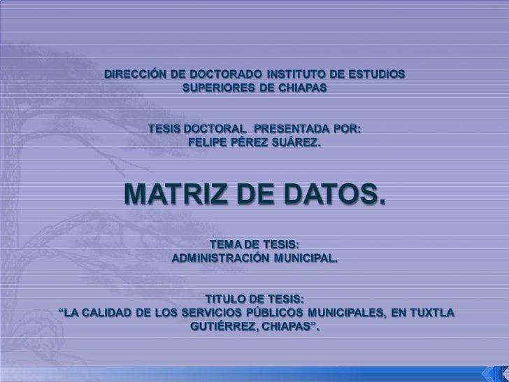 Matriz de Datos (Servicios Públicos Municipales)