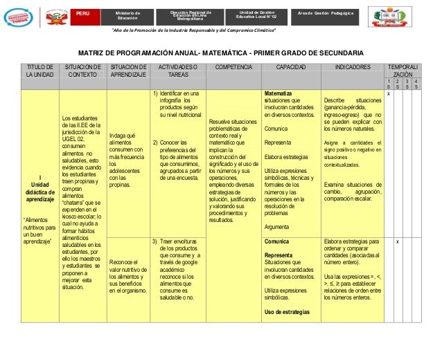 Matriz de programación anual 1 ro. matematica  secundaria