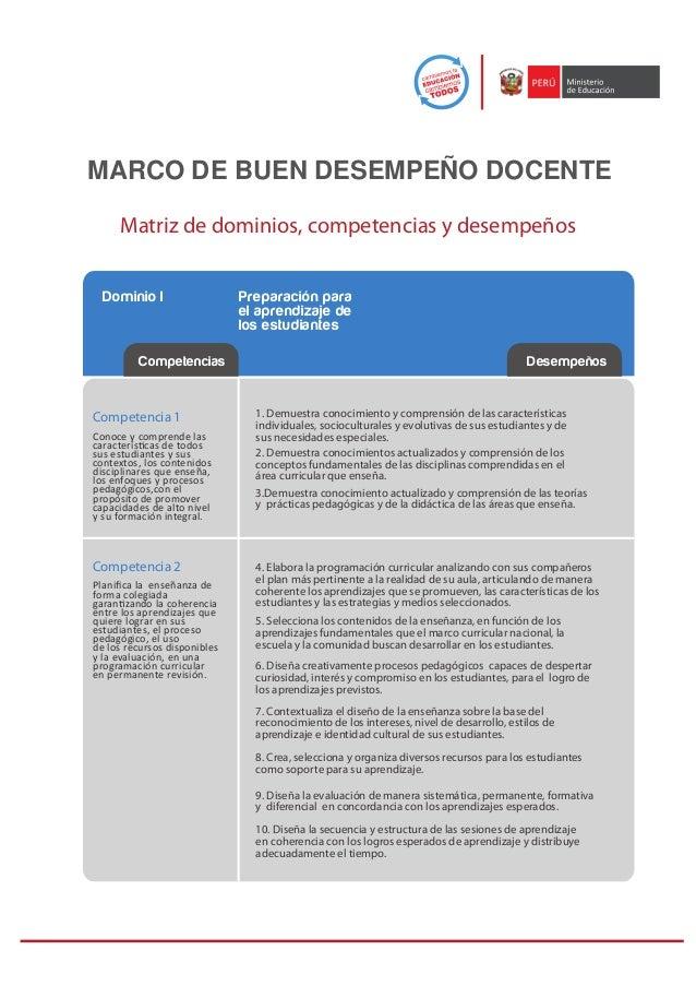 MARCO DE BUEN DESEMPEÑO DOCENTE     Matriz de dominios, competencias y desempeños  Dominio I                   Preparación...