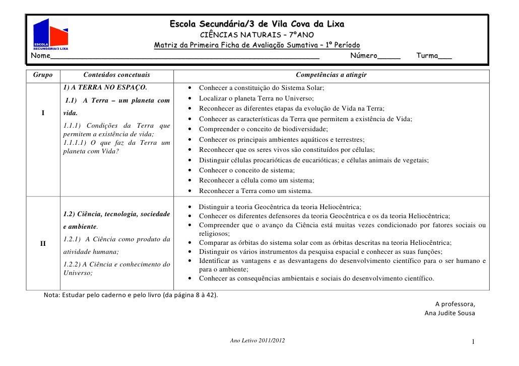 Escola Secundária/3 de Vila Cova da Lixa                                       CIÊNCIAS NATURAIS – 7ºANO                  ...