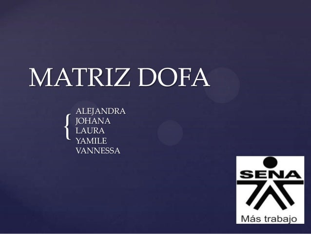 { MATRIZ DOFA ALEJANDRA JOHANA LAURA YAMILE VANNESSA