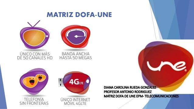 MATRIZ DOFA-UNE  DIANA CAROLINA RUEDA GONZALEZ  PROFESOR ANTONIO RODRIGUEZ  MATRIZ DOFA DE UNE EPM- TELECOMUNICACIONES