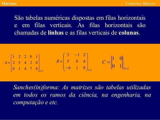 Matrizes Conceitos Básicos São tabelas numéricas dispostas em filas horizontais e em filas verticais. As filas horizontais...