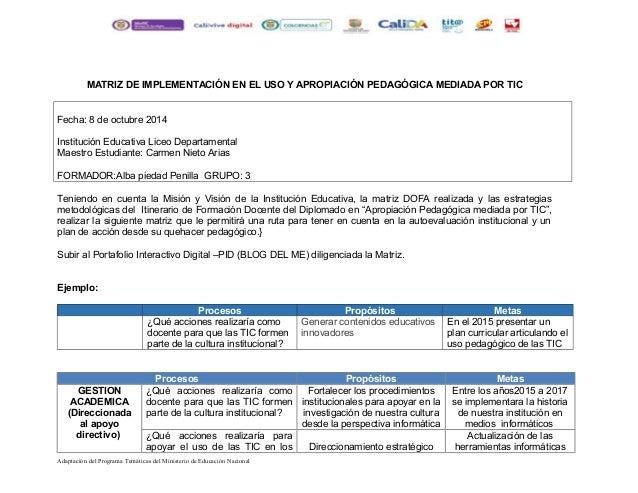 MATRIZ DE IMPLEMENTACIÓN EN EL USO Y APROPIACIÓN PEDAGÓGICA MEDIADA POR TIC  Fecha: 8 de octubre 2014  Institución Educati...