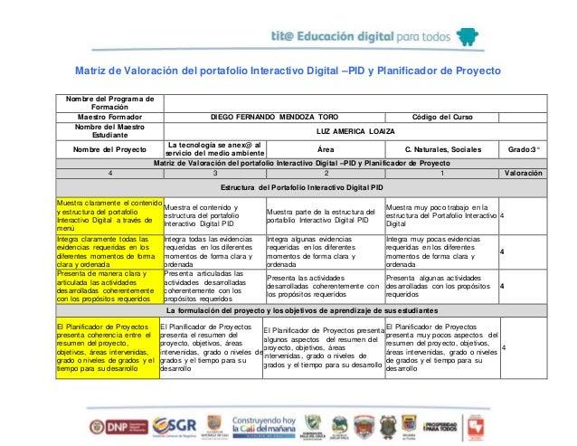 Matriz de Valoración del portafolio Interactivo Digital –PID y Planificador de Proyecto Nombre del Programa de Formación M...