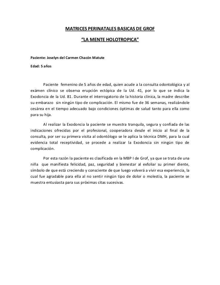 """MATRICES PERINATALES BASICAS DE GROF                             """"LA MENTE HOLOTROPICA""""Paciente: Joselyn del Carmen Chacón..."""