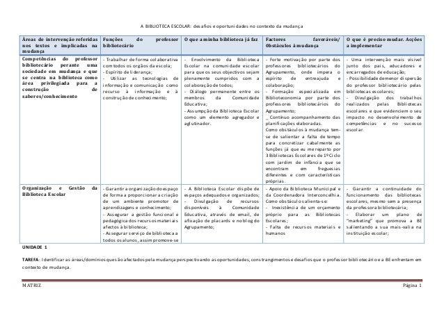 MATRIZ Página 1 A BIBLIOTECA ESCOLAR: desafios e oportunidades no contexto da mudança UNIDADE 1 TAREFA: Identificar as áre...