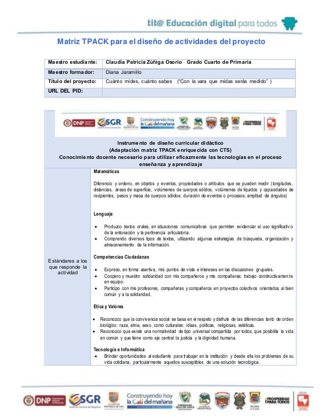 Matriz TPACK para el diseño de actividades del proyecto Maestro estudiante: Claudia Patricia Zúñiga Osorio Grado Cuarto de...