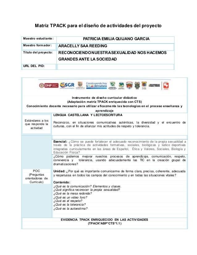 Matriz TPACK para el diseño de actividades del proyecto Maestro estudiante: PATRICIA EMILIA QUIJANO GARCIA Maestro formado...