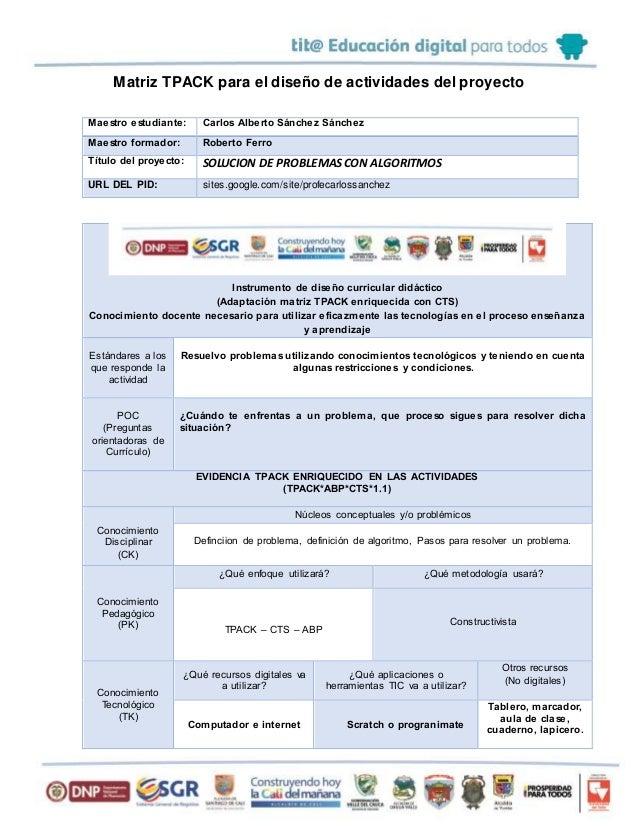 Matriz TPACK para el diseño de actividades del proyecto Maestro estudiante: Carlos Alberto Sánchez Sánchez Maestro formado...